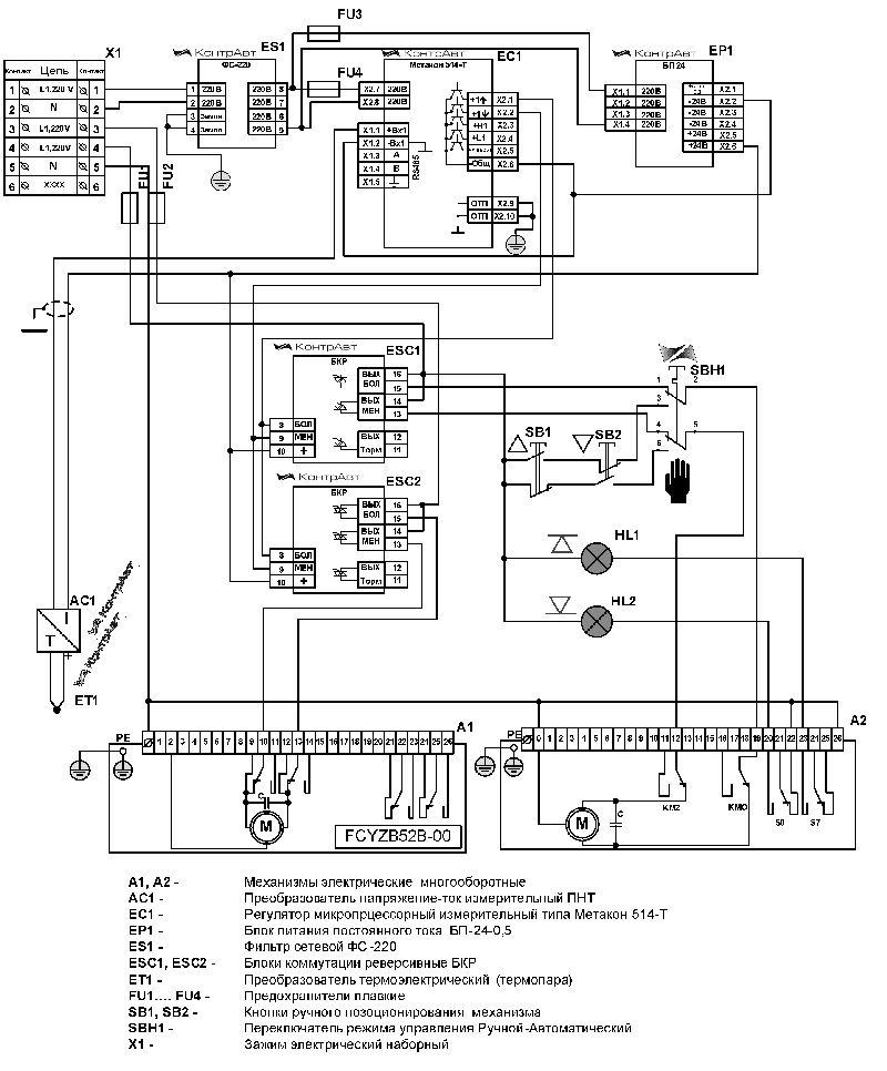 Управление двумя многооборотными электроприводами по одному параметру, например, по температуре