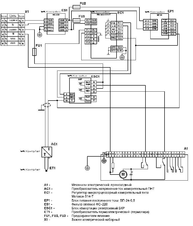 Управление прямоходным электроприводом трехходового клапана отопительной системы
